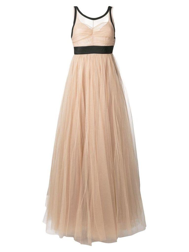 No21 sheer tulle evening dress - Neutrals