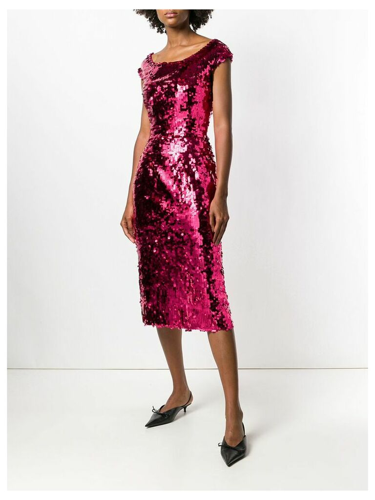 Dolce & Gabbana off-the-shoulder fitted sequin dress - Pink