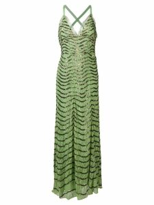 Temperley London Panther lace long dress - Green