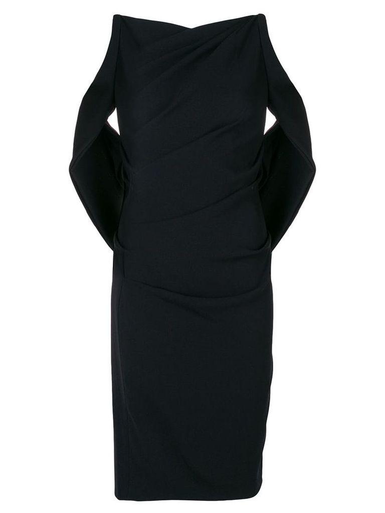 Talbot Runhof sash detail fitted dress - Black