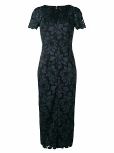 Talbot Runhof lotus lace fitted dress - Blue
