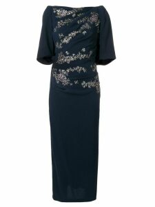 Talbot Runhof floral embellished fitted dress - Black