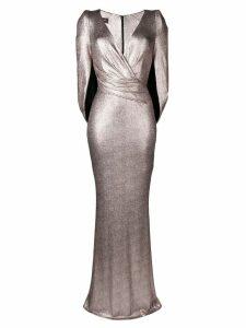 Talbot Runhof copper foil jersey dress - Metallic