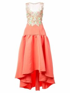 Marchesa Notte embroidered faille high-low dress - Pink