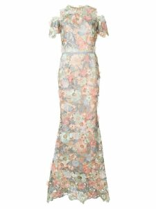 Marchesa Notte cutwork lace dress - Multicolour