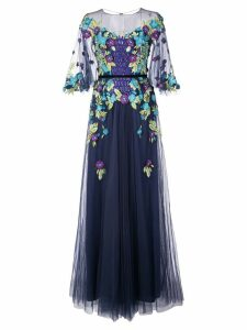 Marchesa Notte floral appliqué gown - Blue