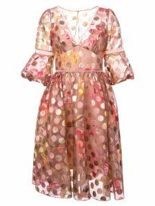 Marchesa Notte polka dot flared dress - Pink