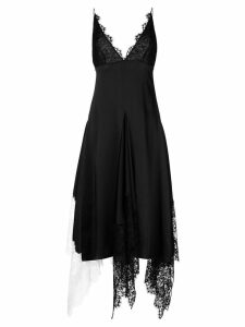 Christopher Kane lace trim satin dress - Black
