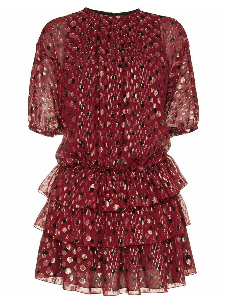 Saint Laurent ruffle and polka dot silk-blend dress - Red