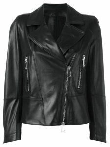 Sylvie Schimmel biker jacket with silver tone zippers - Black