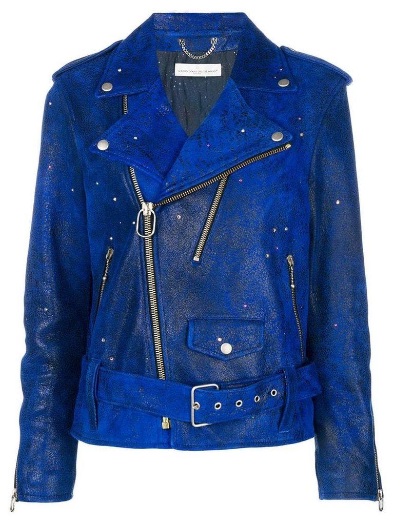 Golden Goose Deluxe Brand crystal-embellished biker jacket - Blue