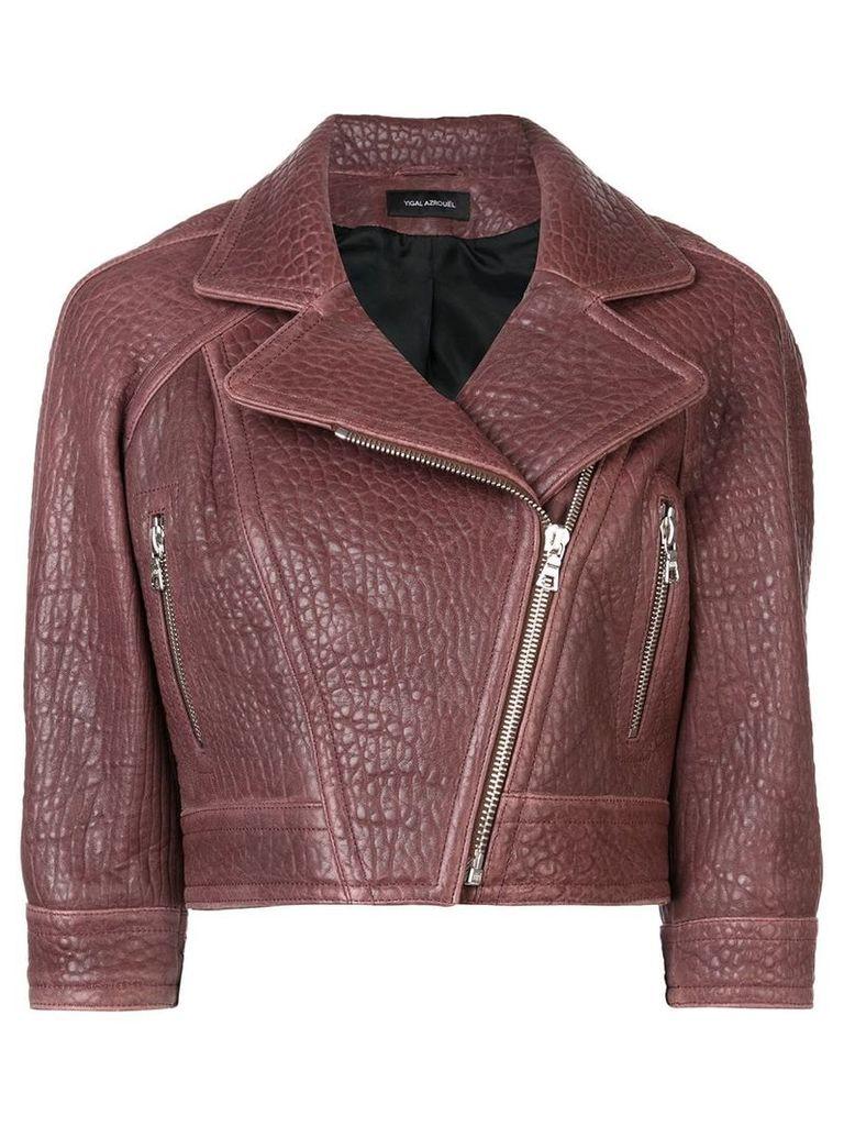Yigal Azrouel cropped biker jacket - Red