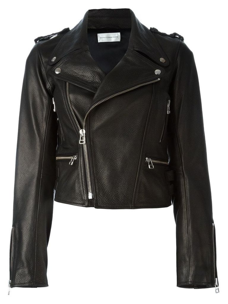 Faith Connexion boxy biker jacket - Black
