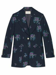 Gucci Flowers fil coupé cotton wool jacket - Blue