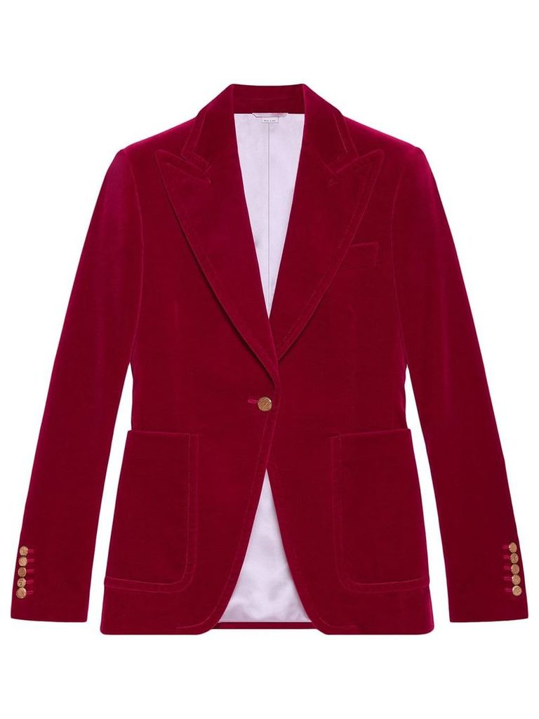 Gucci Velvet single-breasted jacket - Pink