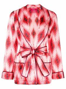 F.R.S For Restless Sleepers geometric print tie waist blazer - Pink