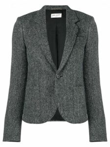 Saint Laurent cropped herringbone blazer - Grey