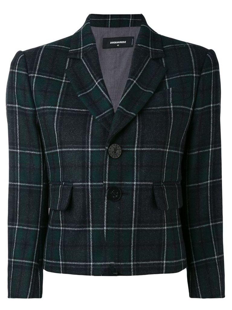 Dsquared2 Tartan check cropped blazer - Green