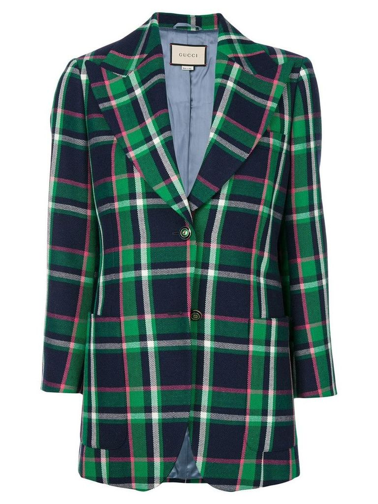 Gucci patched checked blazer - Green