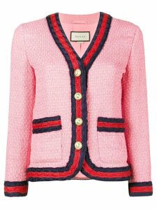 Gucci Slim Fit Blazer with Contrasting Piping - Pink