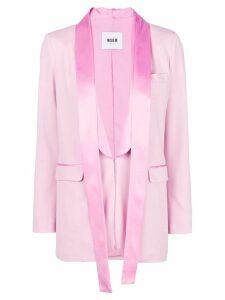 MSGM satin trim blazer - Pink