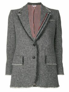 Thom Browne Frayed Wide Lapel Sport Coat - Grey