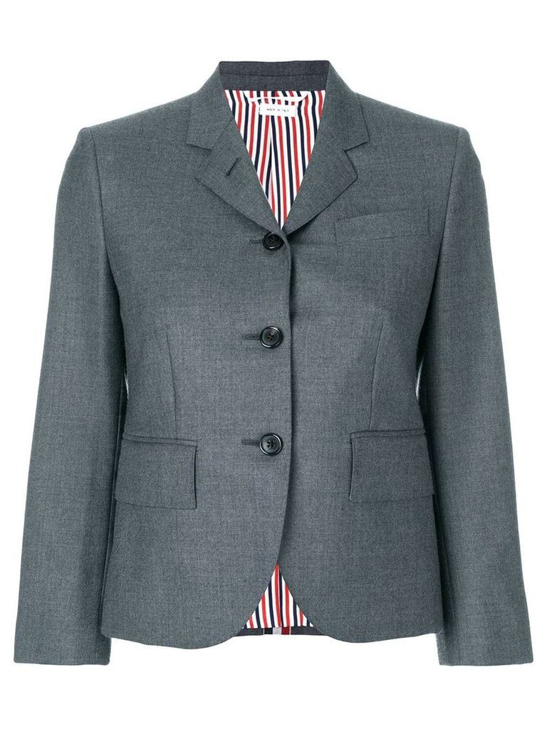 Thom Browne Center-back Stripe Sport Coat In Solid Wool Twill - Grey