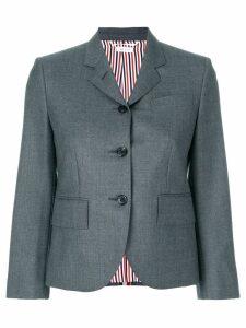 Thom Browne Center-back Stripe Sport Coat In Solid Wool Twill - Grey