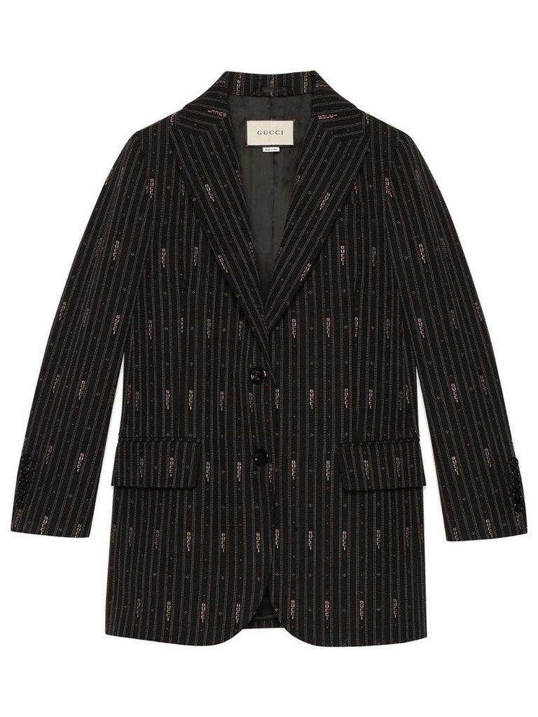 Gucci Gucci stripe fil coupé wool jacket - Black