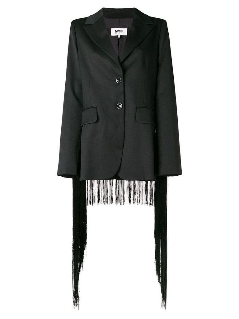 Mm6 Maison Margiela fringed trim blazer - Black