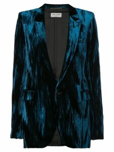 Saint Laurent crinkled velvet one-button blazer - Blue