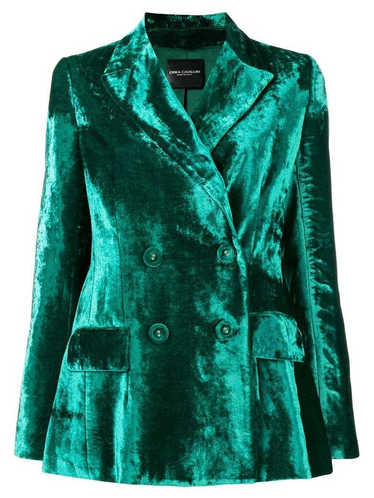 Erika Cavallini double-breasted velvet blazer - Green