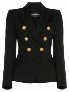 Balmain double-breasted wool blazer - Black