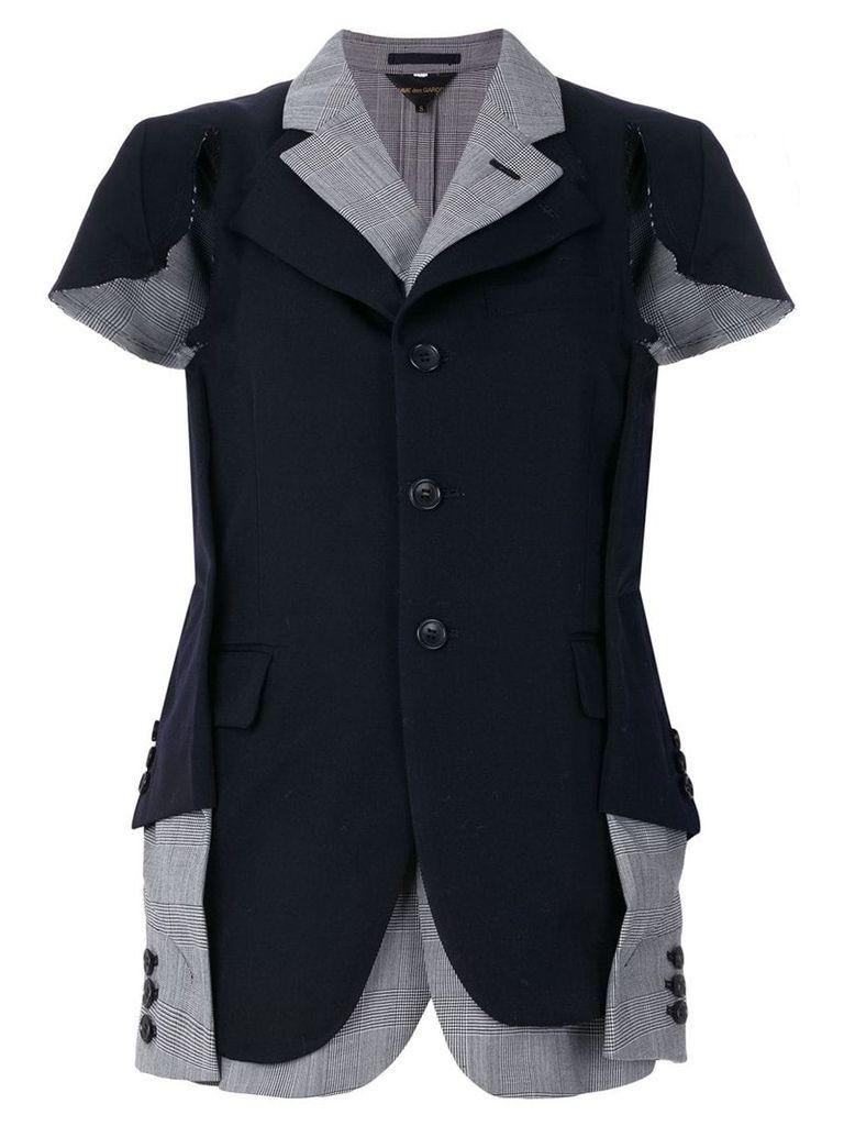 Comme Des Garçons Prince of Wales asymmetric blazer - Blue