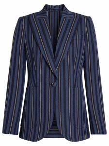 Burberry Collegiate Stripe Wool Blend Blazer - Blue
