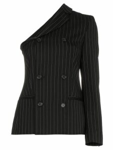 Moschino one sleeve double breasted striped virgin wool blend blazer -