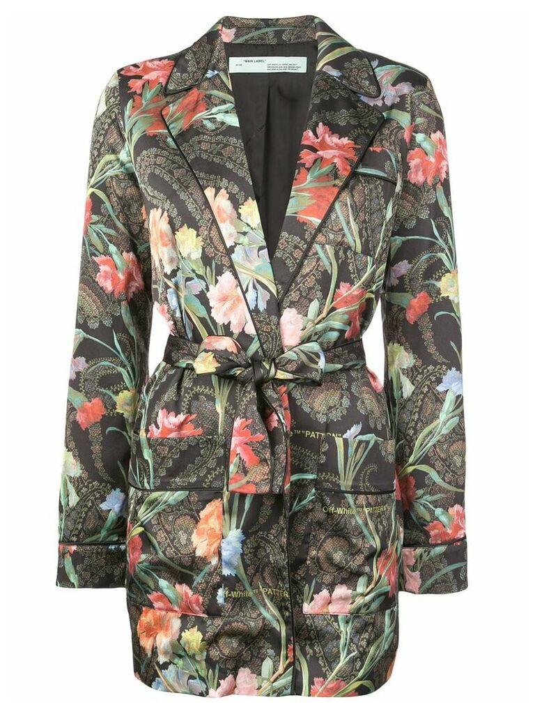 Off-White floral belted jacket - Black