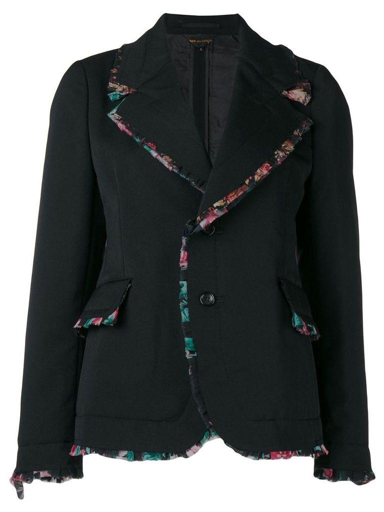 Comme Des Garçons ruffled floral trim blazer - Black