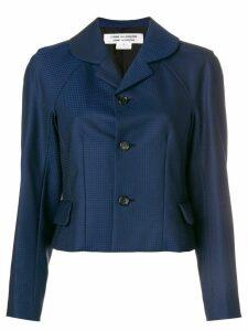 Comme Des Garçons Comme Des Garçons cropped micro check blazer - Blue
