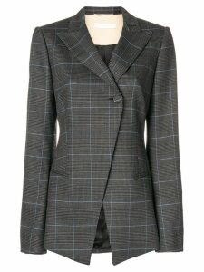 Ssheena checked asymmetric hem blazer - Black
