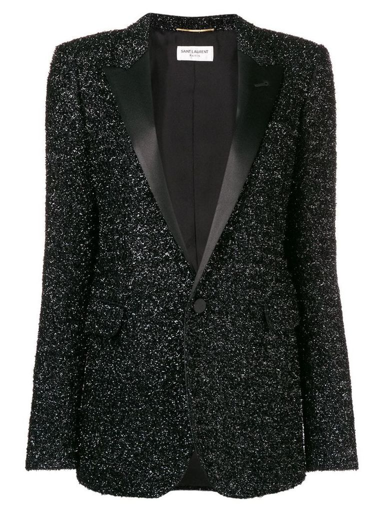 Saint Laurent tuxedo style sequin blazer - Black