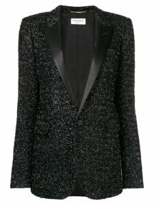 Saint Laurent tuxedo style sequin blazer - Black