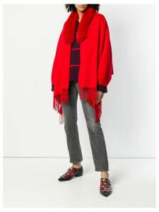Liska fur collar poncho - Red