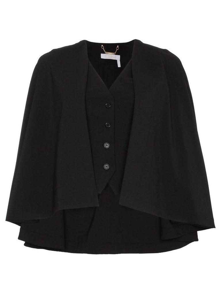 Chloé virgin wool blend waistcoat cape - Black