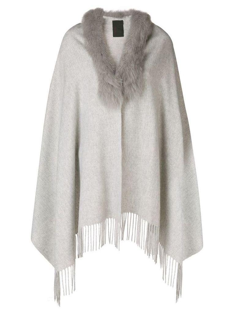 Liska fur collar poncho - Grey