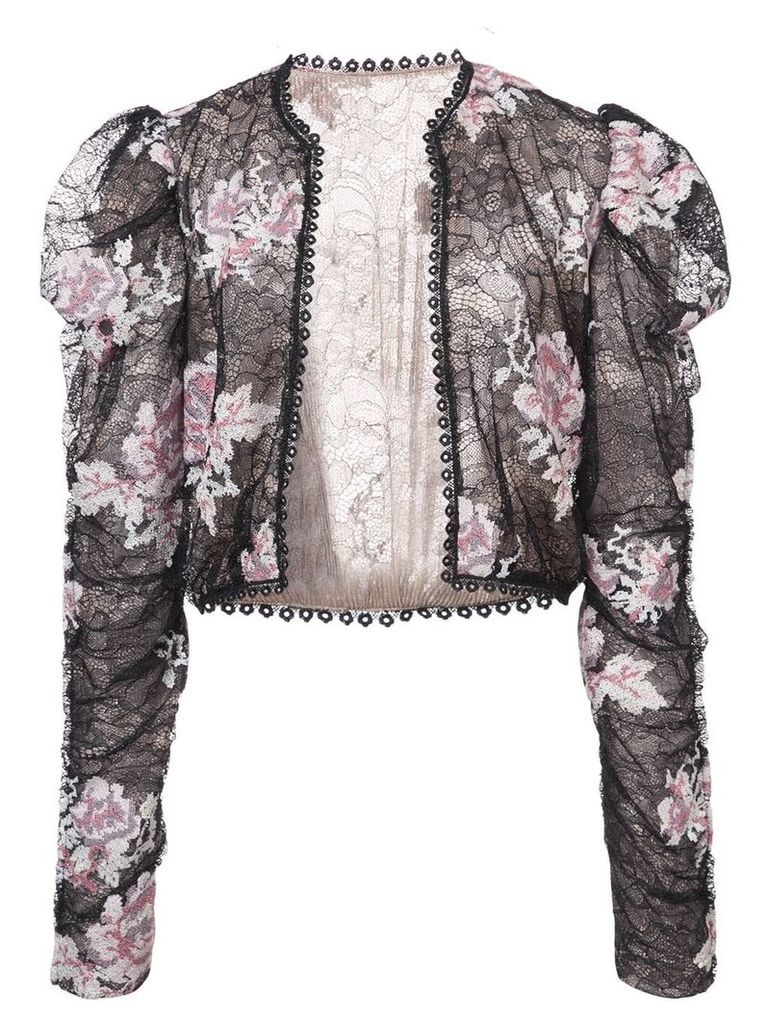 Anna Sui rose embroidered lace jacket - Black