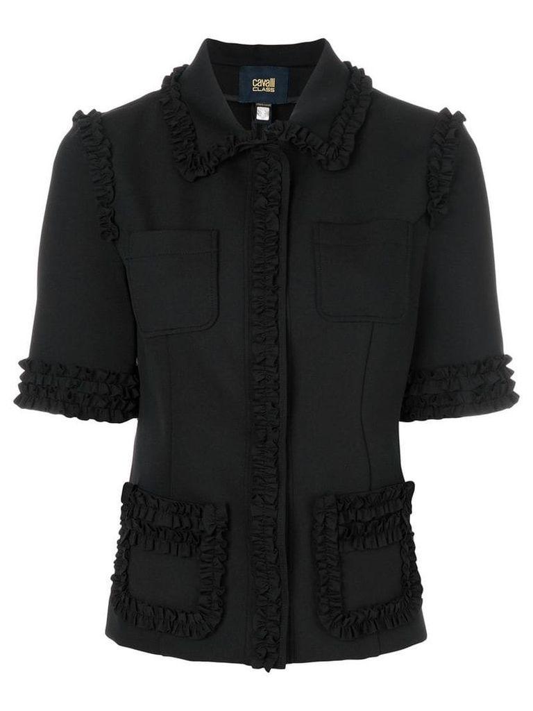 Cavalli Class shortsleeved ruffle jacket - Black