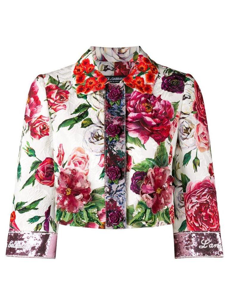 Dolce & Gabbana peony print cropped jacket - White