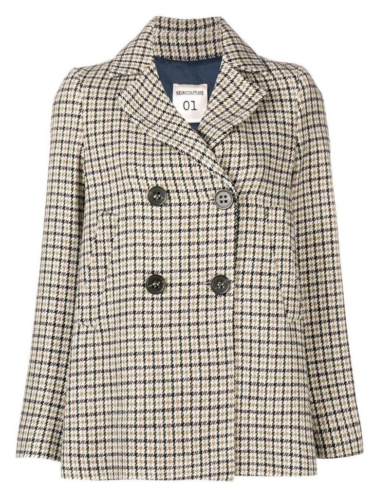 Semicouture checked double breasted jacket - Neutrals