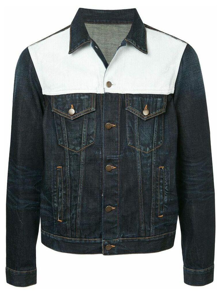Ports V colour block panel denim jacket - Blue